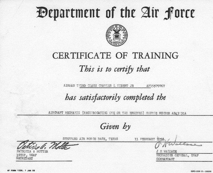 Training Certificate For A3C Sibert 11 Feb 58 USAF.JPG  Certificate For Training